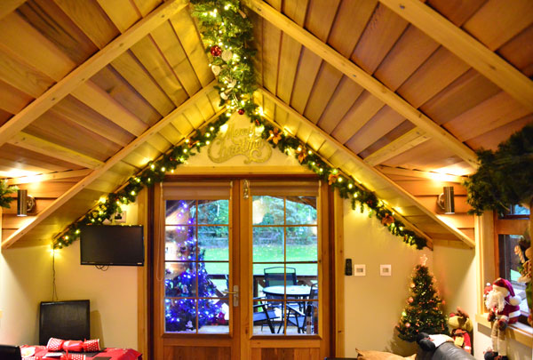 Inside Fairswood lodge at Christmas
