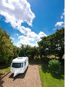 A fully serviced pitch at Bath Chew Valley Caravan Park