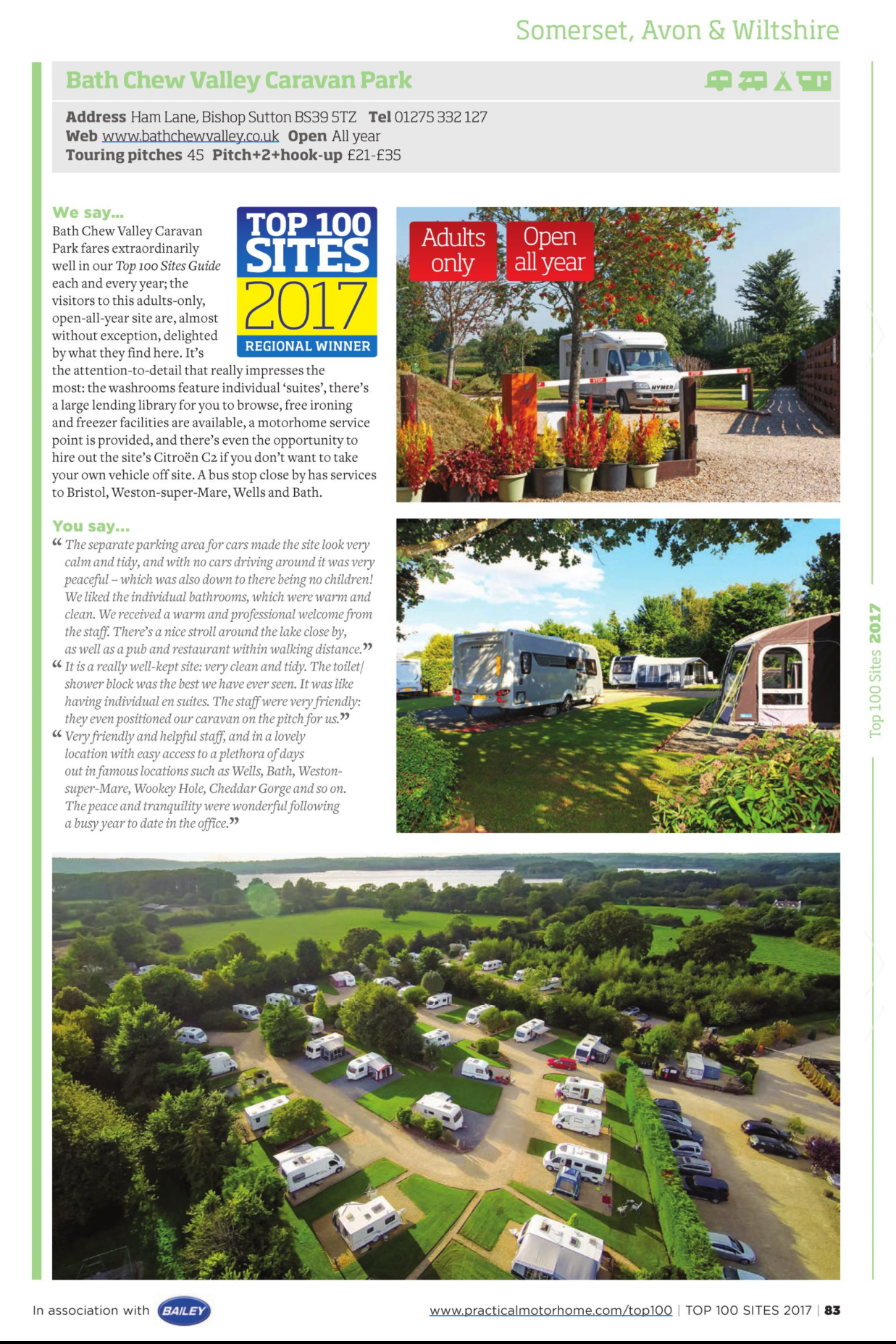 Download the Top 100 Sites Review for Bath Chew Caravan Park